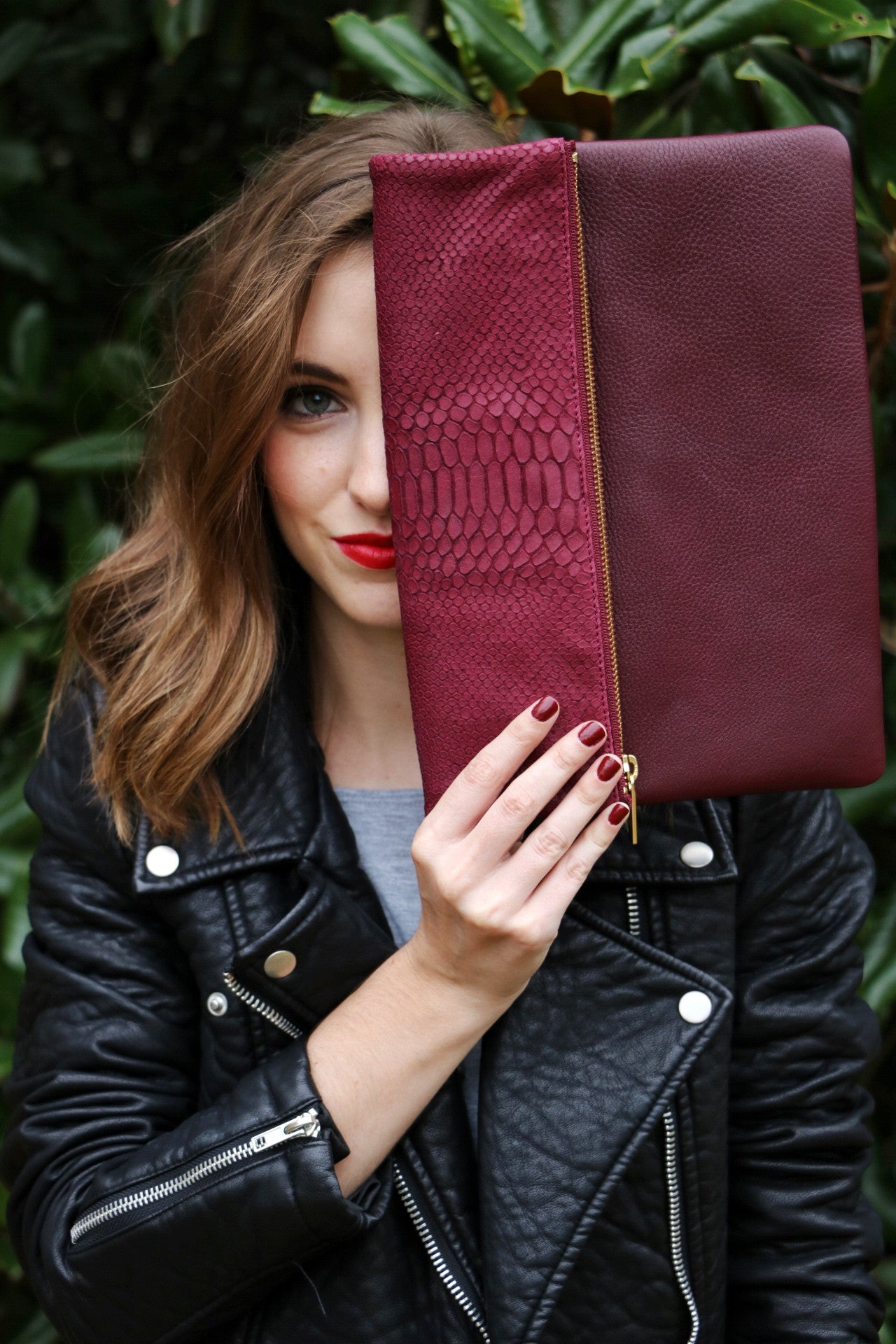 oxblood leather handbag, python handbag, Perfect cross body handbag, Molly Jane Handbags, Southern Living Handbags, southern designer handbags, Gifts for her, Holiday Wishlist, oxblood cross body handbag, italian leather clutch, leather handbag, The perfect clutch