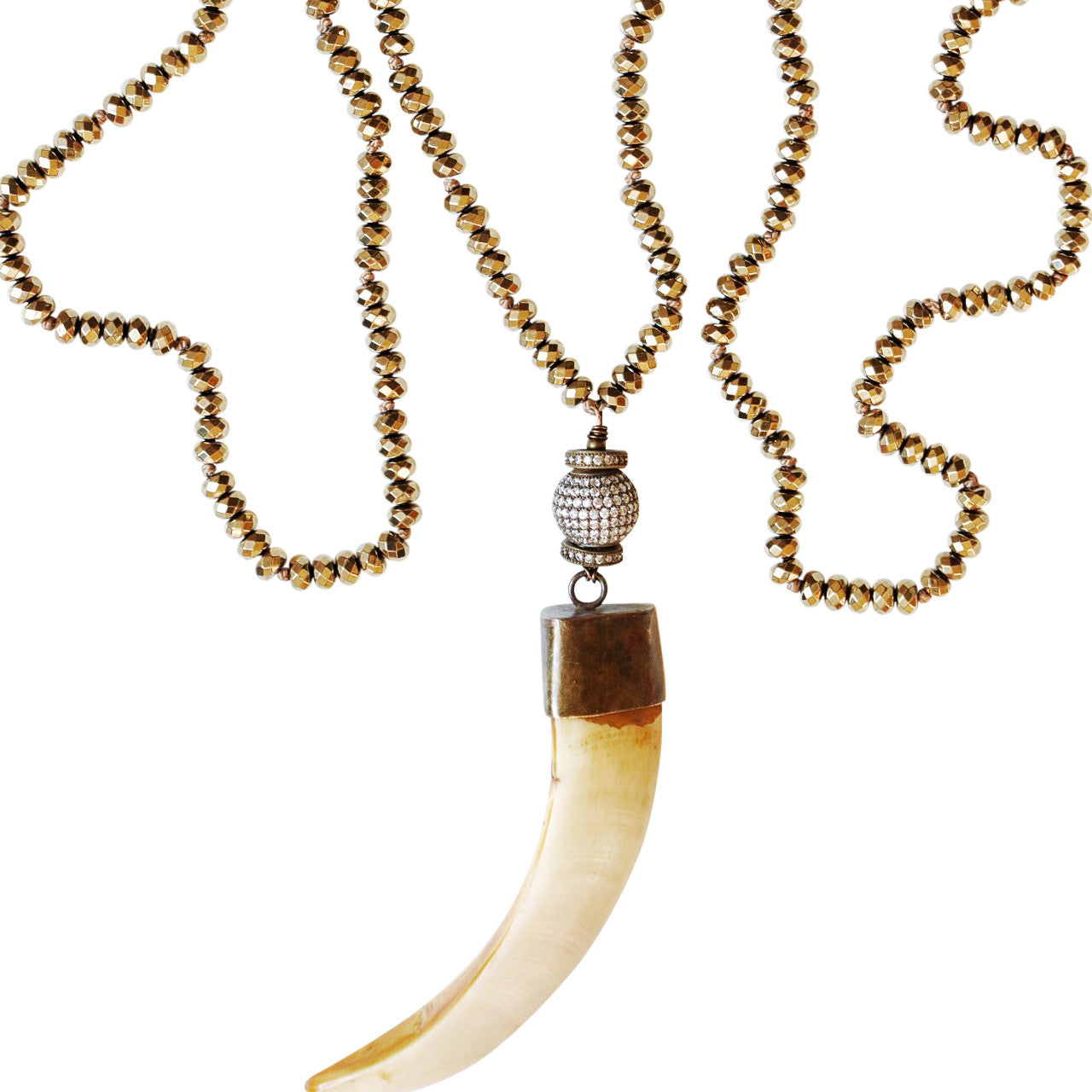 Gold Pyrite Boars Tusk Necklace