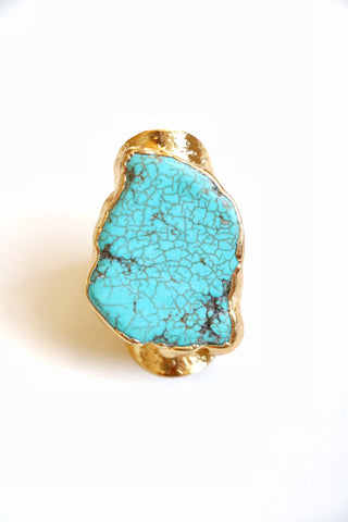 Gold & Turquoise Cocktail Ring