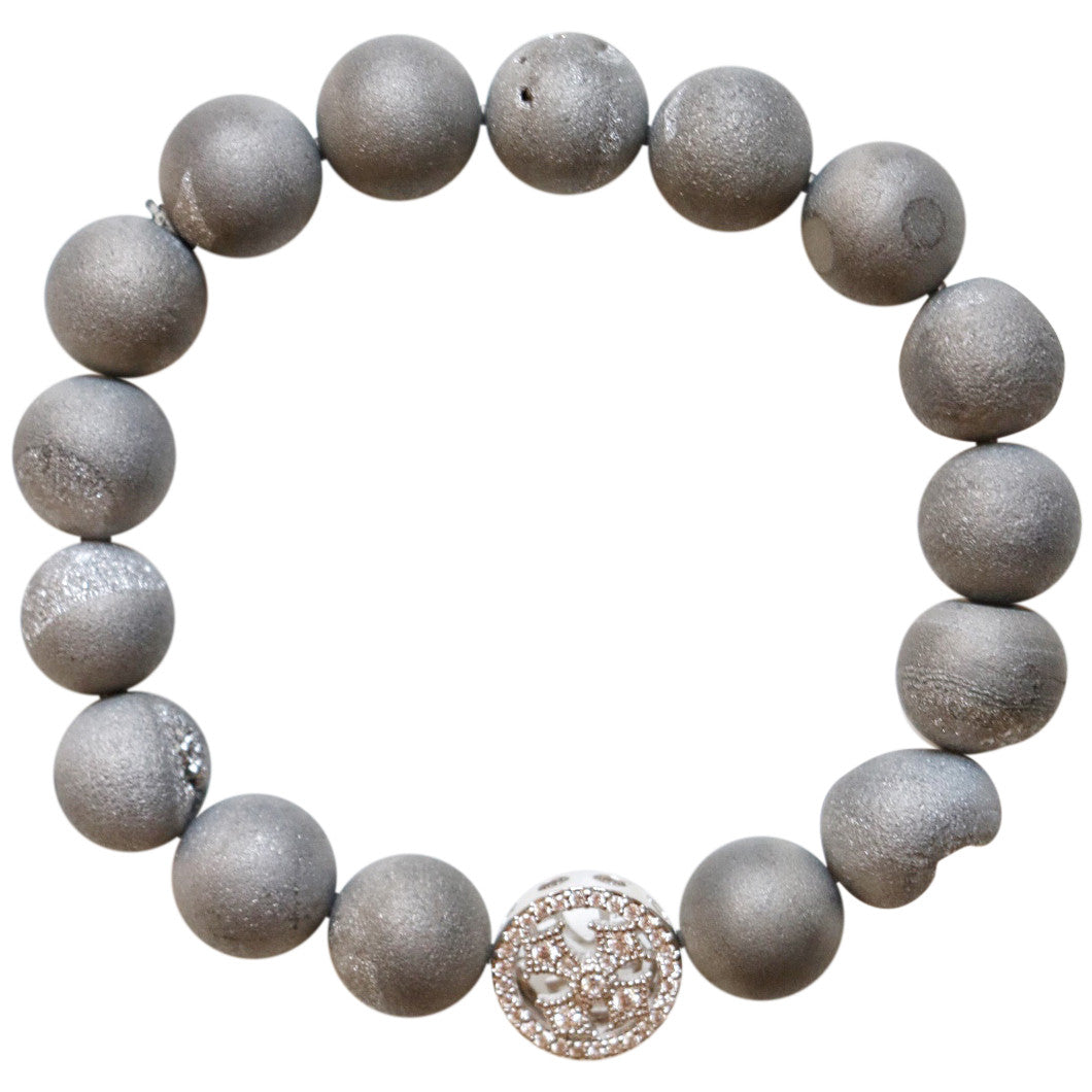 Molly Jane Designs Gray Druzy Charm Bracelet