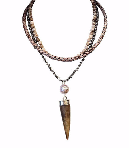 Pyrite Horn Bib Necklace