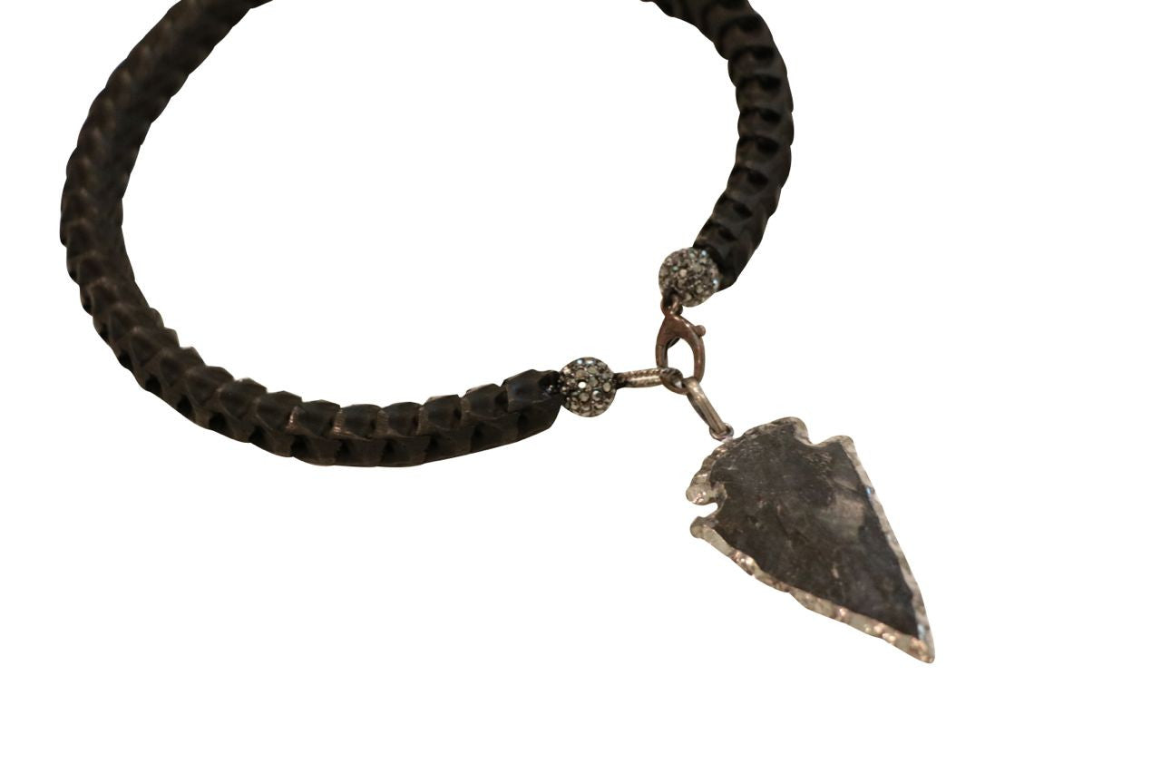 Gunmetal Arrowhead Snake Vertebrae Necklace