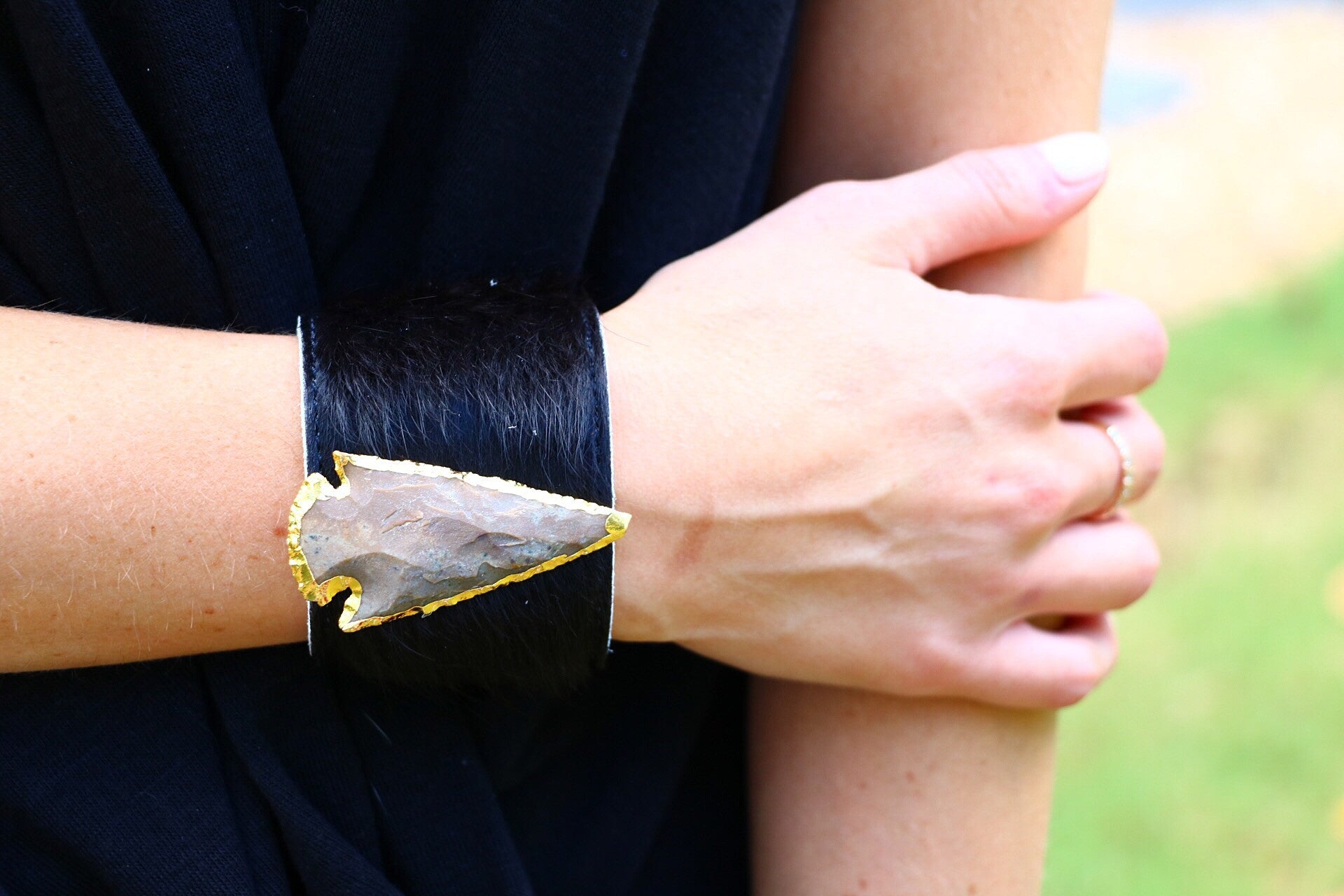Molly jane designs black cowhide cuff