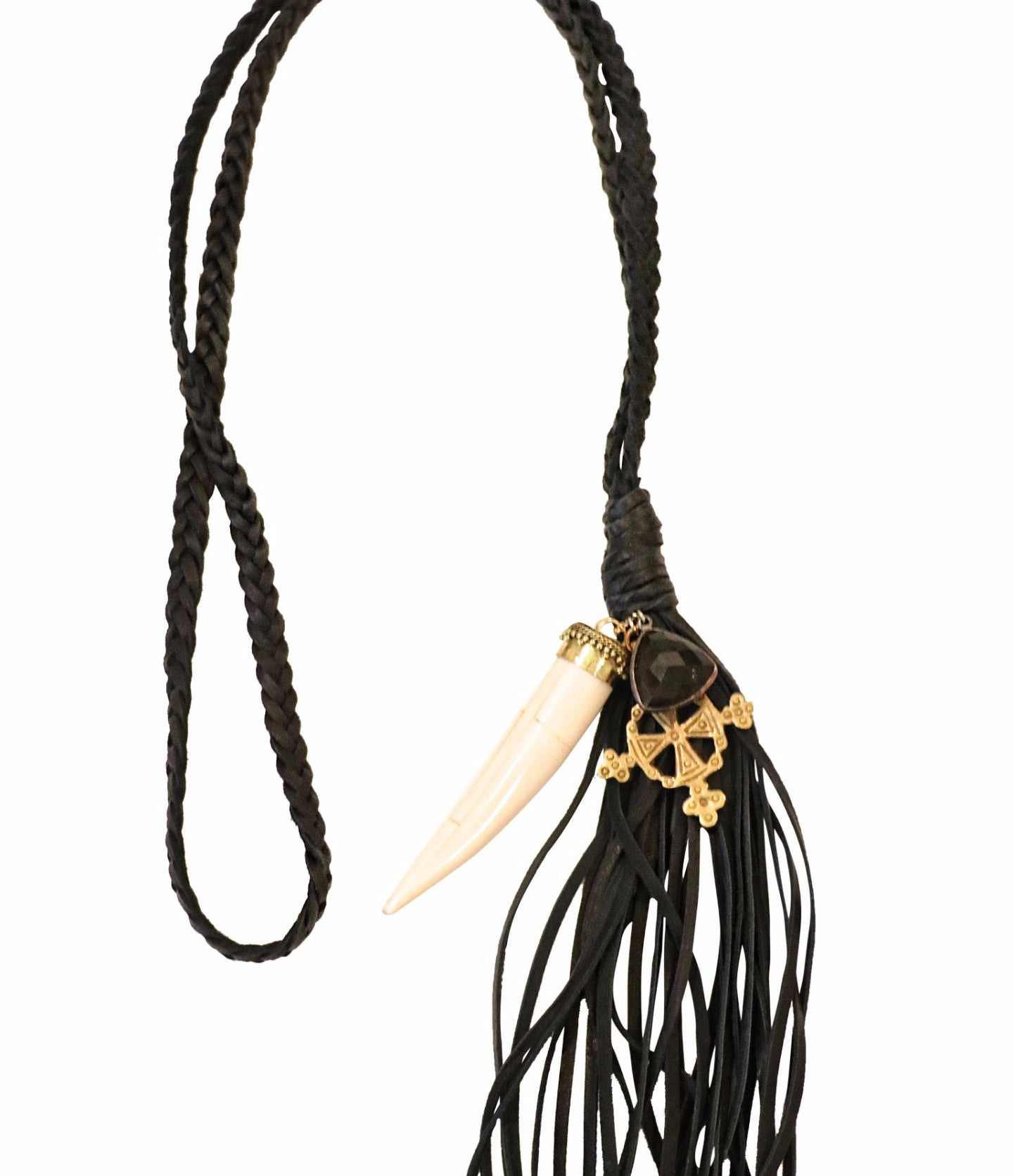 Black Leather + Horn Medallion Necklace