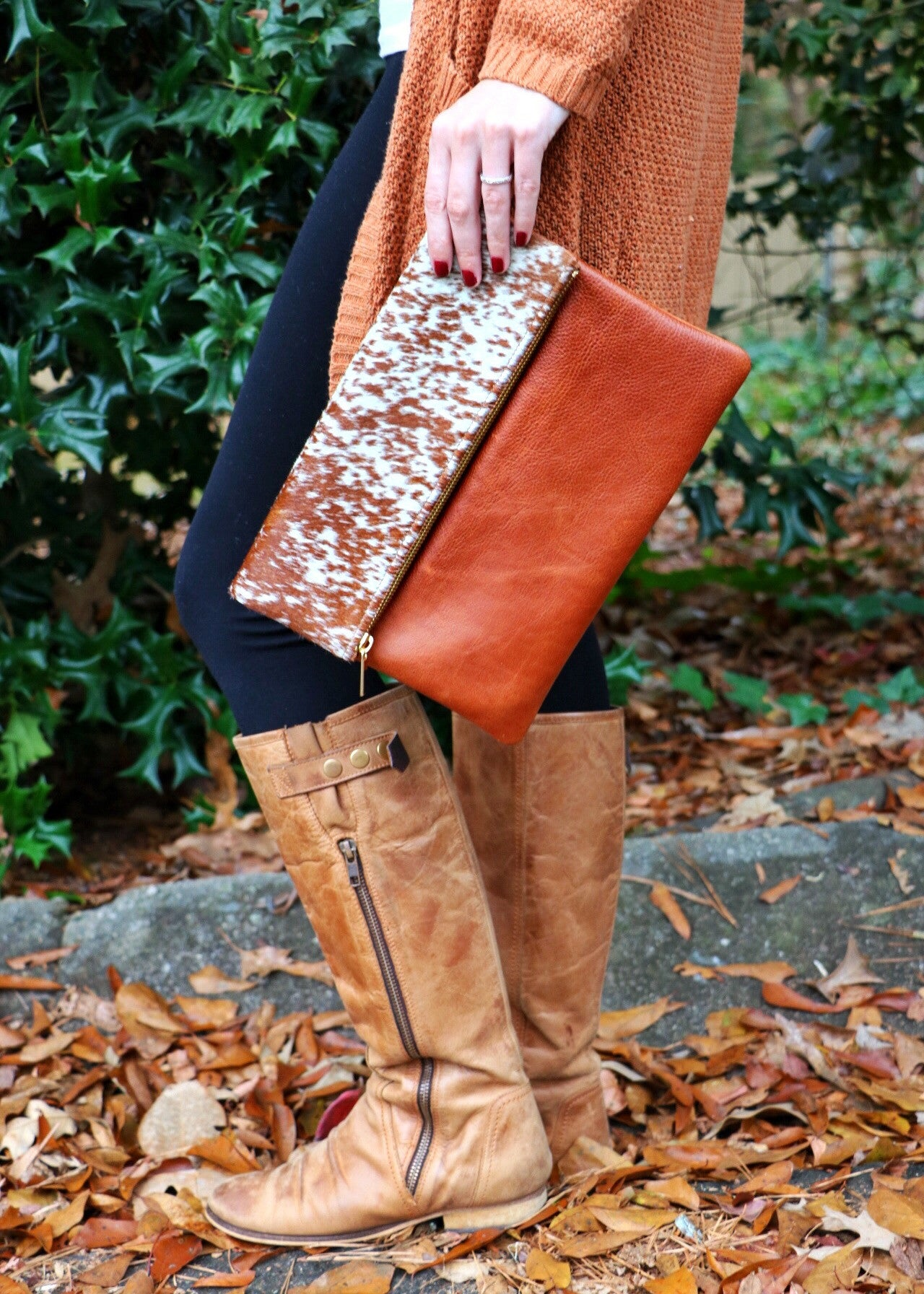 spotted pony leather handbag, bourbon brown leather handbag, perfect cross body handbag, Molly Jane Handbags, Southern Living Handbags, southern designer handbags, Gifts for her, Holiday Wishlist, hair on cross body handbag, italian leather clutch, leather handbag, The perfect clutch