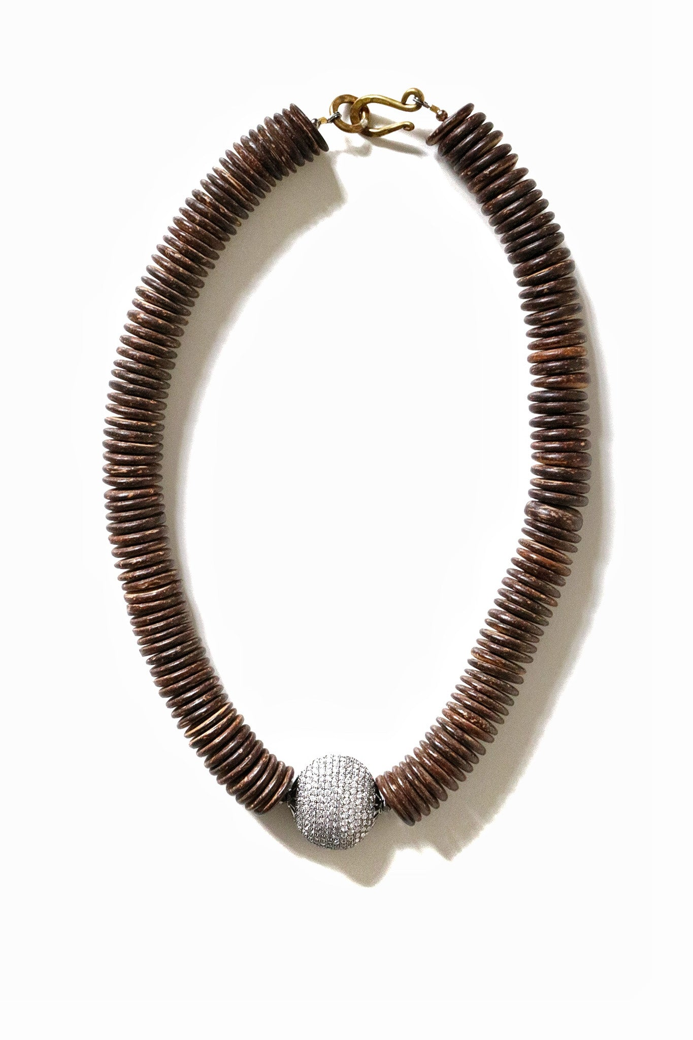 Molly Jane Designs Dark Coconut + Pave Diamond Beaded Necklace
