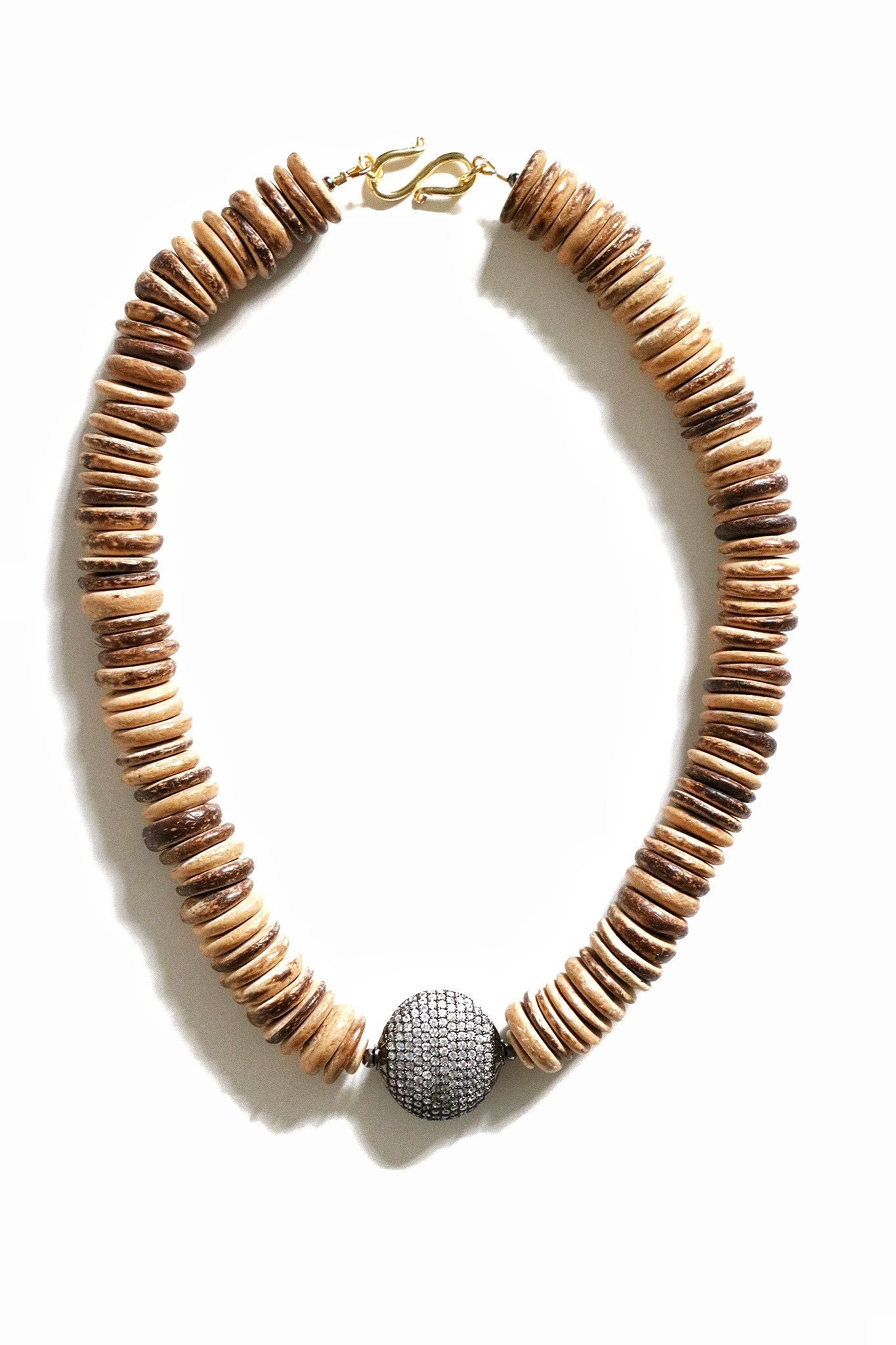 Light Coconut Pave Diamond Beaded Necklace