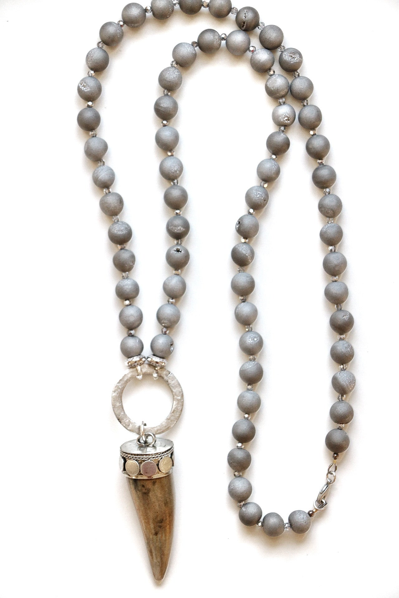 fe6099331a10c Gray Druzy + Wood Horn Necklace