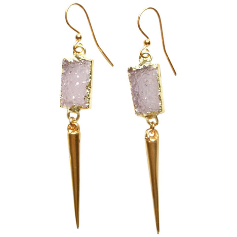 Druzy + Spike Earrings