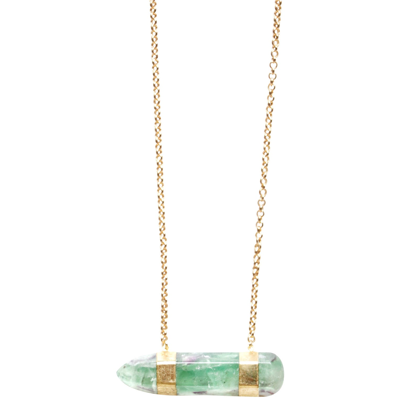 Ocean Green Aventurine stone Electroplated in 24k Gold on 14k Gold filled chain