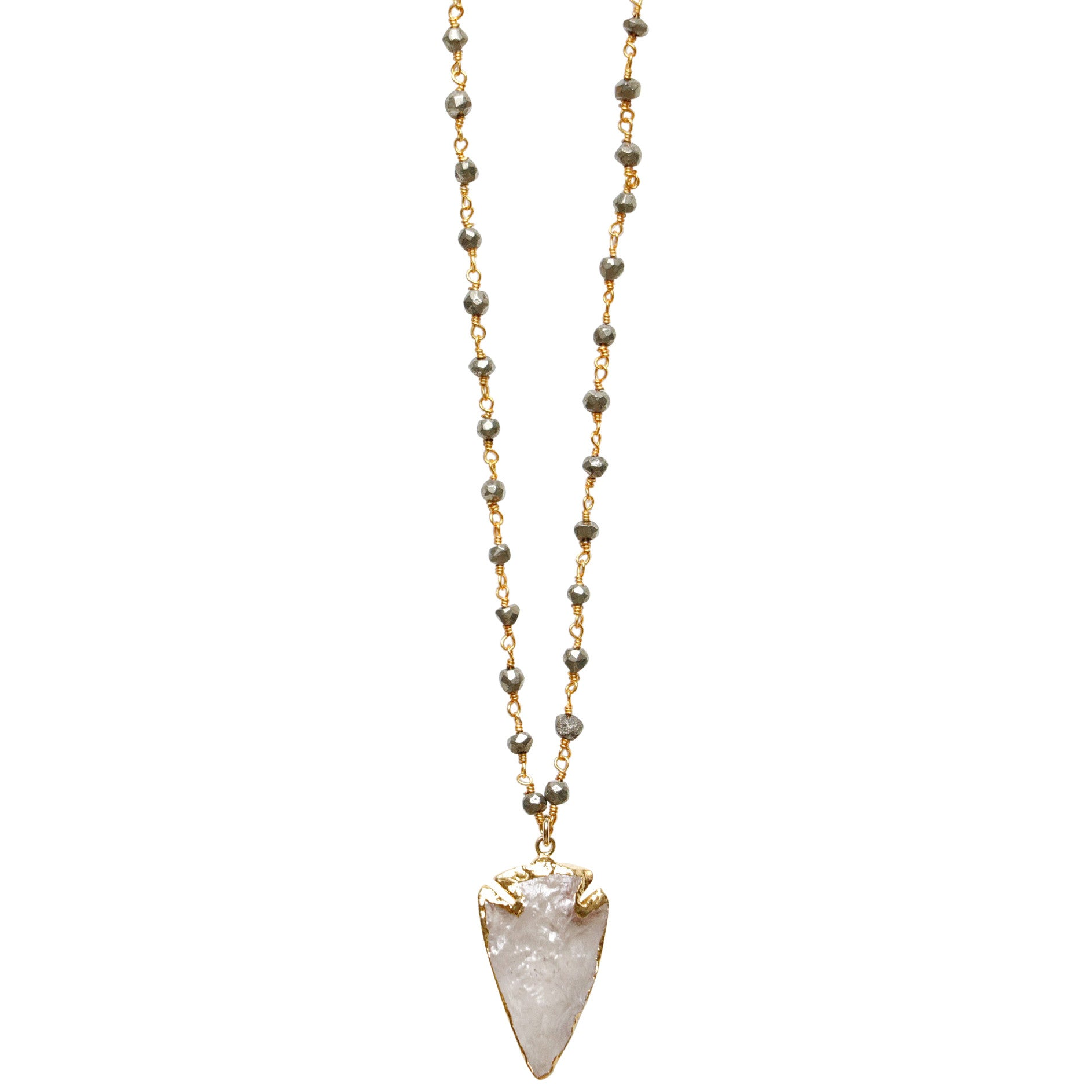 24k Gold dipped Crystal Arrowhead on a 14k Gold Filled Wire-wrapped Pyrite Chain