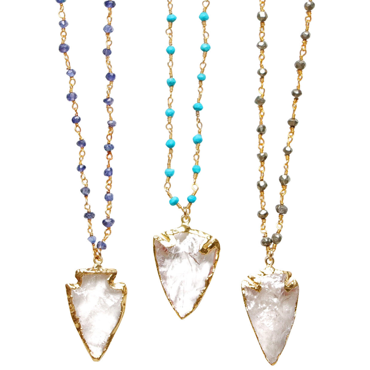 Southern made necklaces 24k Gold dipped Crystal Arrowhead on a 14k Gold Filled Wire-wrapped Blue Sapphire Chain