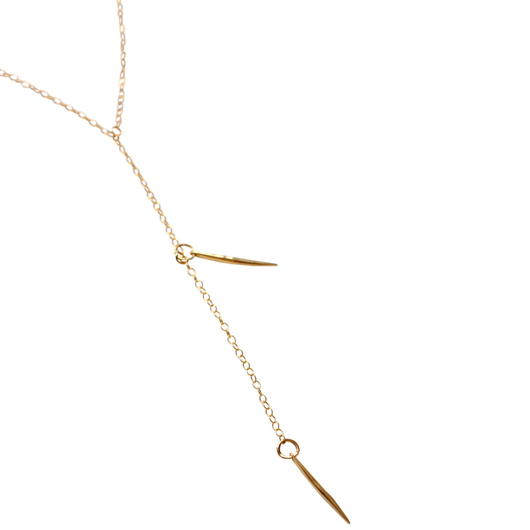 Lariat Necklace with two 18k Gold filled Spikes on 14k Gold Filled delicate chain