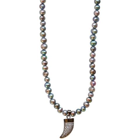 Molly Jane Designs Iridescent + Pave Spike Choker, Iridescent Pearl Beads Choker with a Pave Cubic Zirconia Spike Pendant