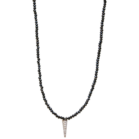 Molly Jane Designs Black Onyx + Pave Dagger Choker, Black Onxy Beaded Choker with Pave Cubic Zirconia Dagger Pendant.