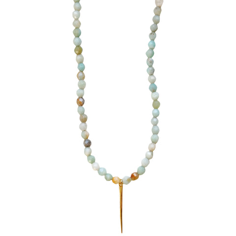 Molly Jane Designs Amazonite + Gold Spike Choker,  Amazonite Beads Choker with 18k Gold Vermeil Spike Pendant