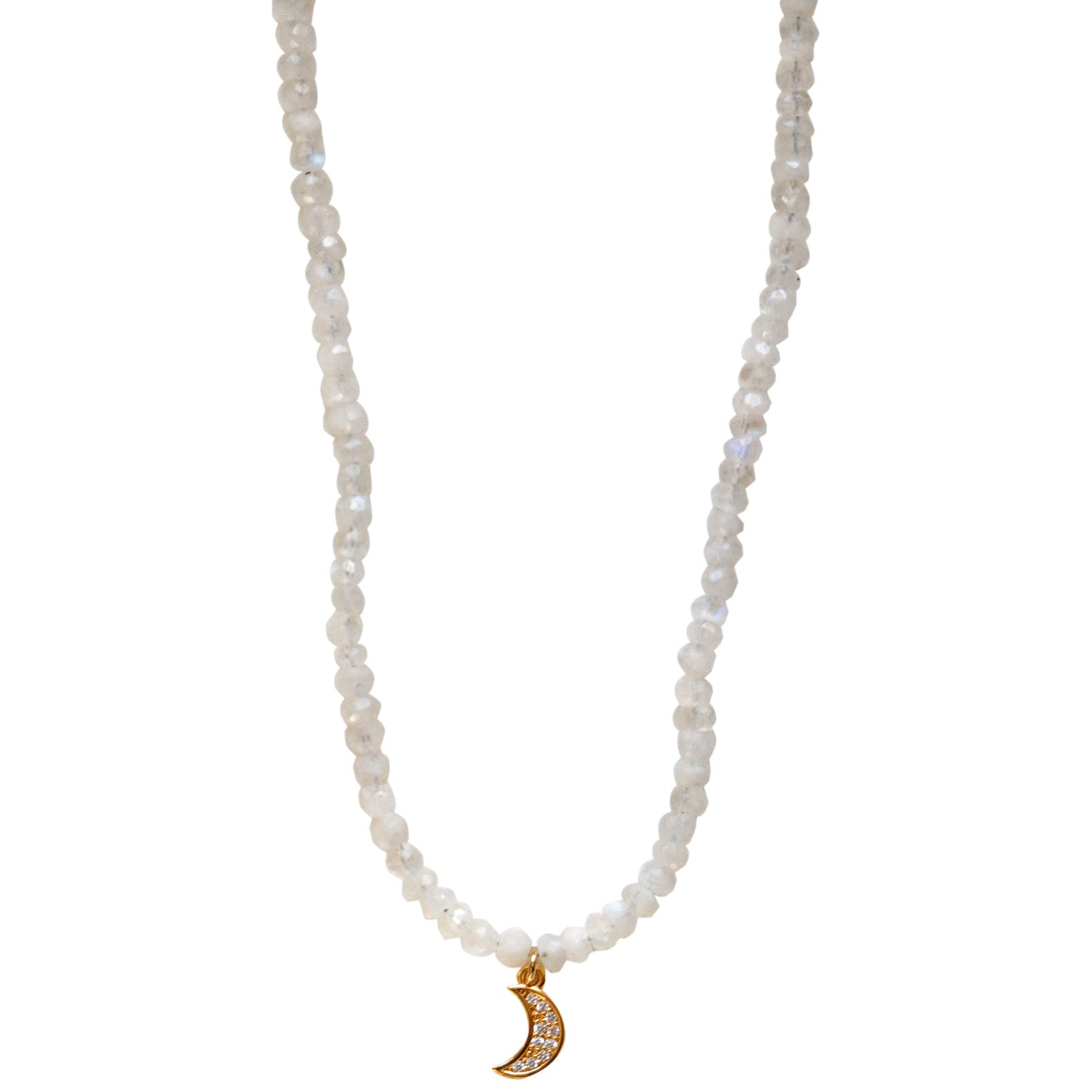 Molly Jane Designs Moonstone + Pave Moon Choker, Moonstone Bead Choker with Pave Cubic Zirconia Moon Pendant with 14k Gold-Fill.