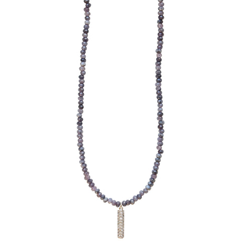 Molly Jane Designs Blue Jade + Pave Bar Choker, Blue Jade Beaded Choker with Pave Cubic Zirconia Bar Pendant with Silver Accents