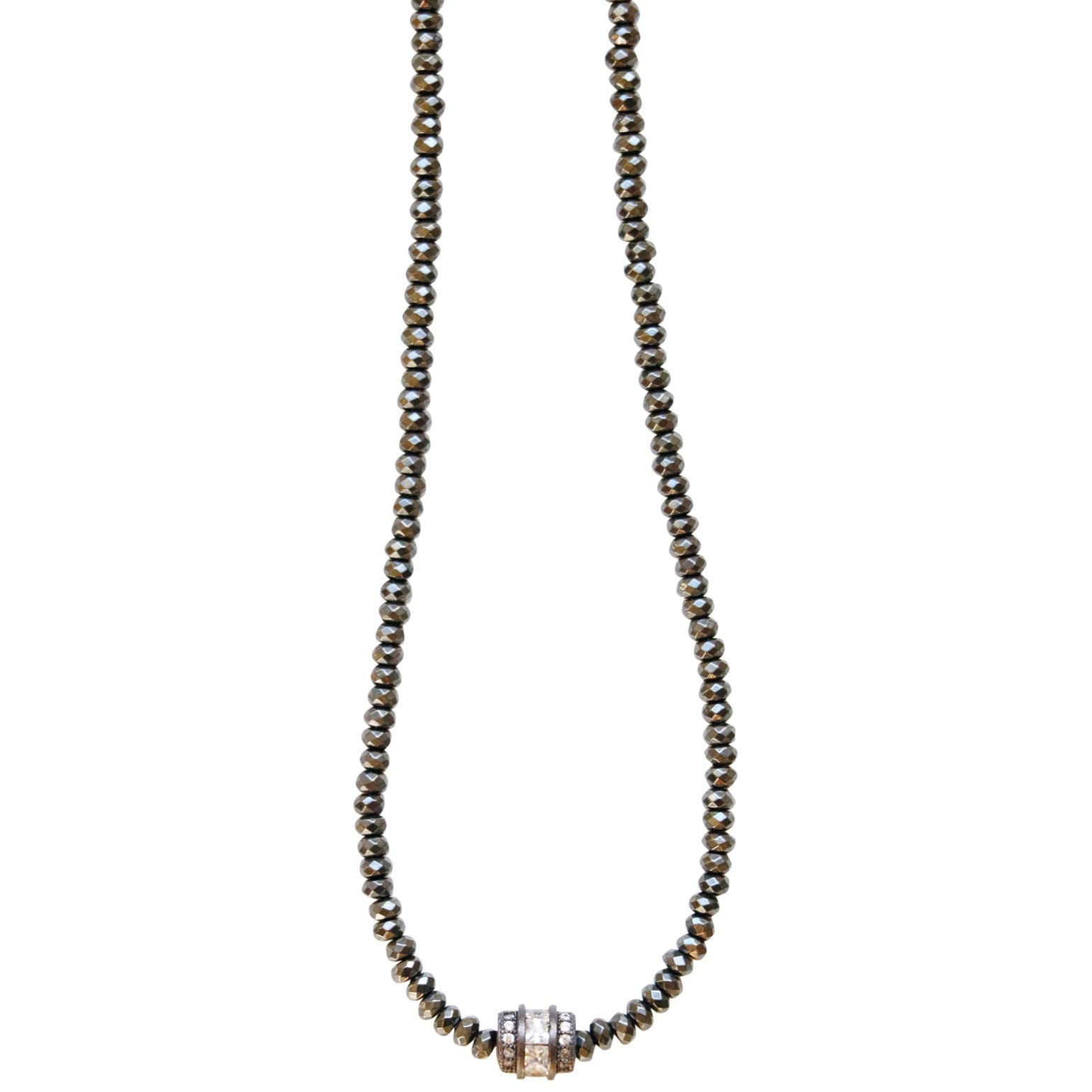Molly Jane Designs Hematite + Pave Charm Choker, Hematite Bead Choker with Pave Cubic Zirconia Pendant with Gunmetal Accents
