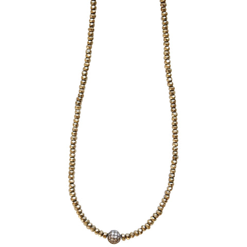 Molly Jane Designs Pyrite + Pave Ball Choker, Pyrite Bead Choker with Pave Cubic Zirconia Ball Pendant