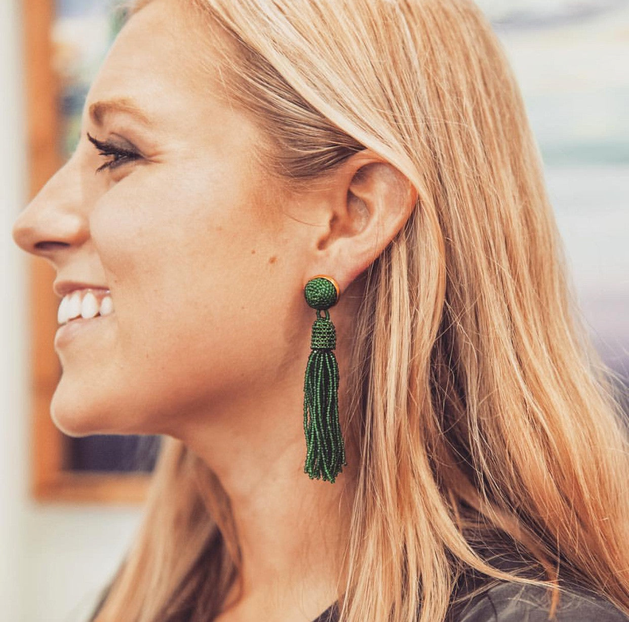 Southern jewelry designer tassel earrings Green Tassel Earrings, Molly Jane Designs, Spring earrings, Earrings to wear to prom, jewelry for mothers day, mothers day gift, emerald green jewelry,