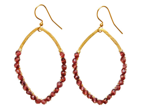Ruby Wrapped Gold Hoop Earrings