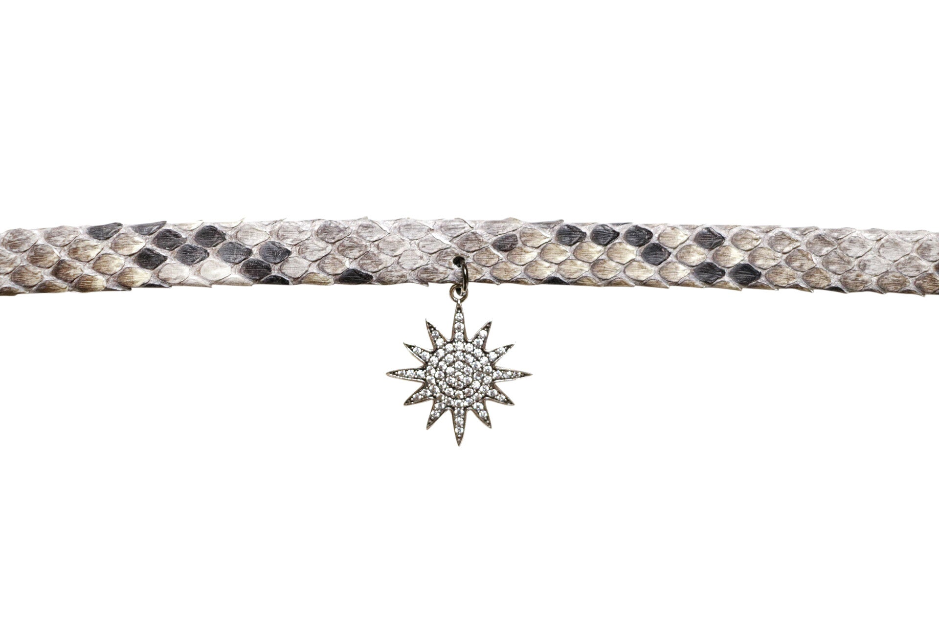 Snakeskin Choker with Pave Diamond Starburst Pendant
