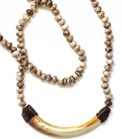 Speckled Agate + Boar's Tusk Double Necklace
