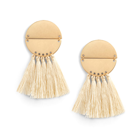 Gold Circle & Cream Tassel Earrings