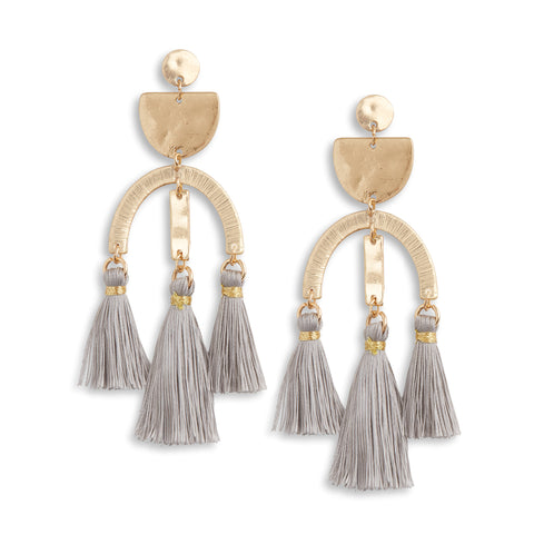Rose Gold Tassel Geometric Earrings