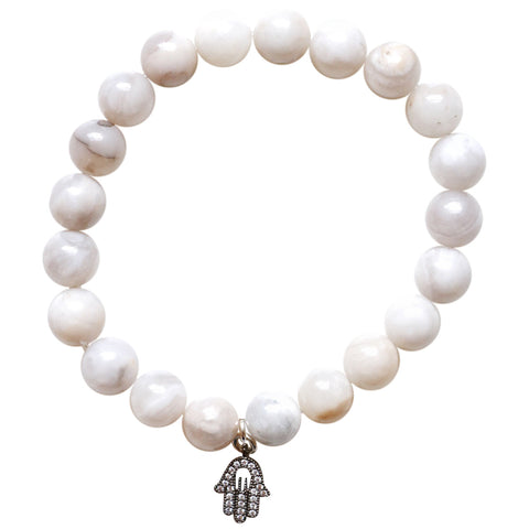 Speckled White Quartz Charm Bracelet