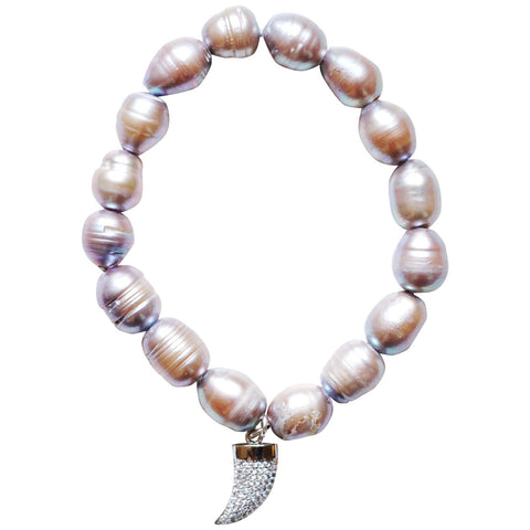 Striped Bali Bead Charm Bracelet