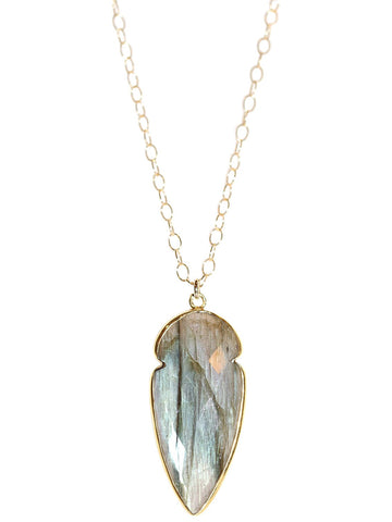 Shop local 18k Gold Electroplated Labradorite Pendant on 18k Gold filled Petite Chain