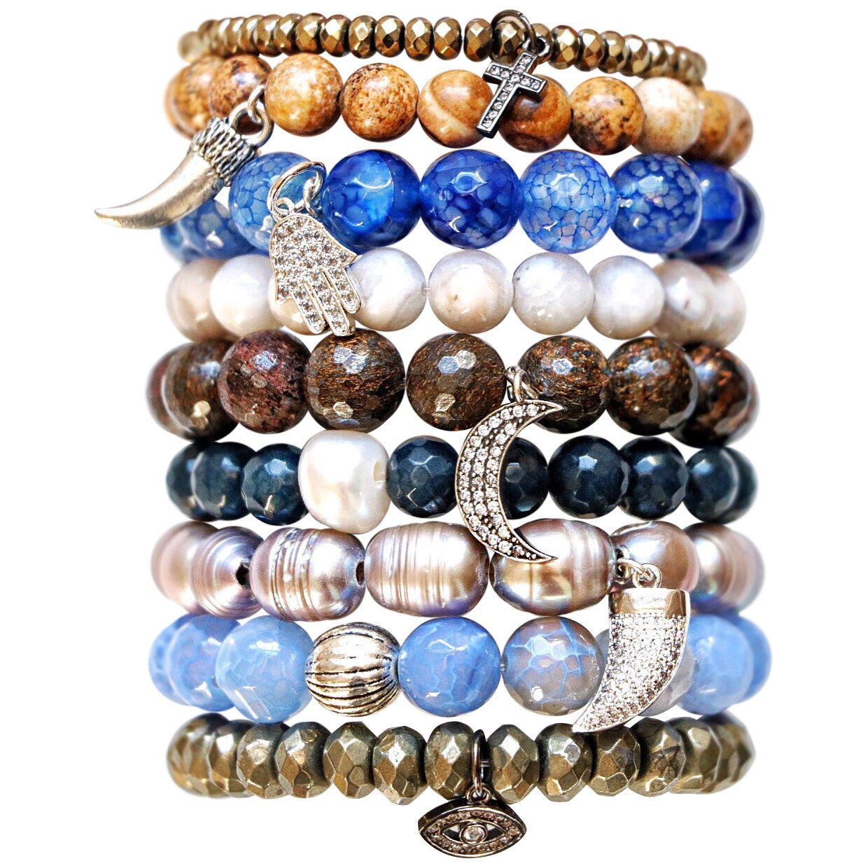 Molly Jane Designs Aqua Blue Agate Charm Bracelet