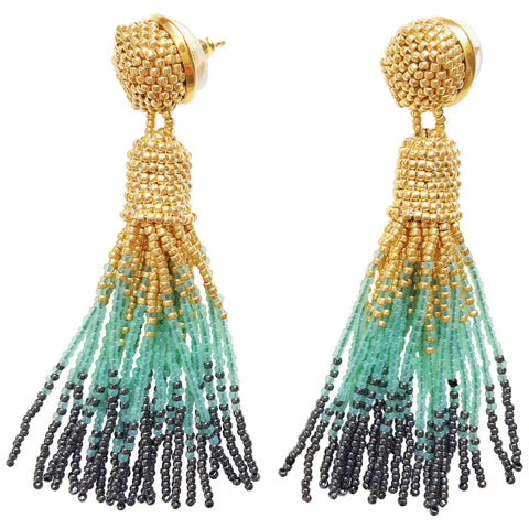 Emerald Green Tassel Earrings