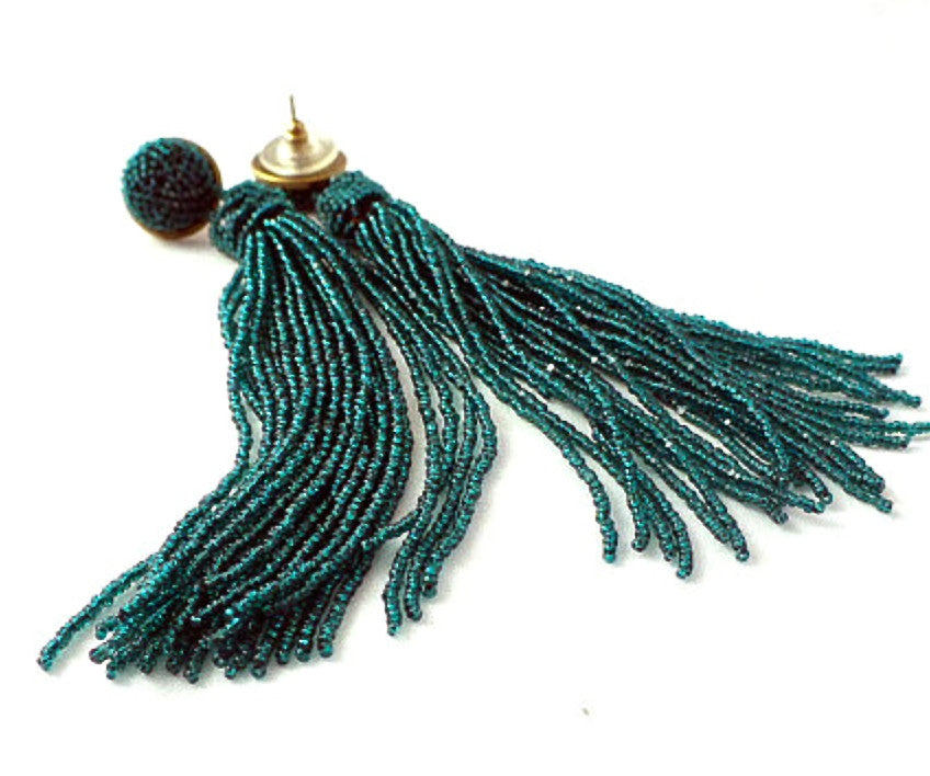 Green Tassel Earrings, Molly Jane Designs, Spring earrings, Earrings to wear to prom, jewelry for mothers day, mothers day gift, emerald green jewelry,