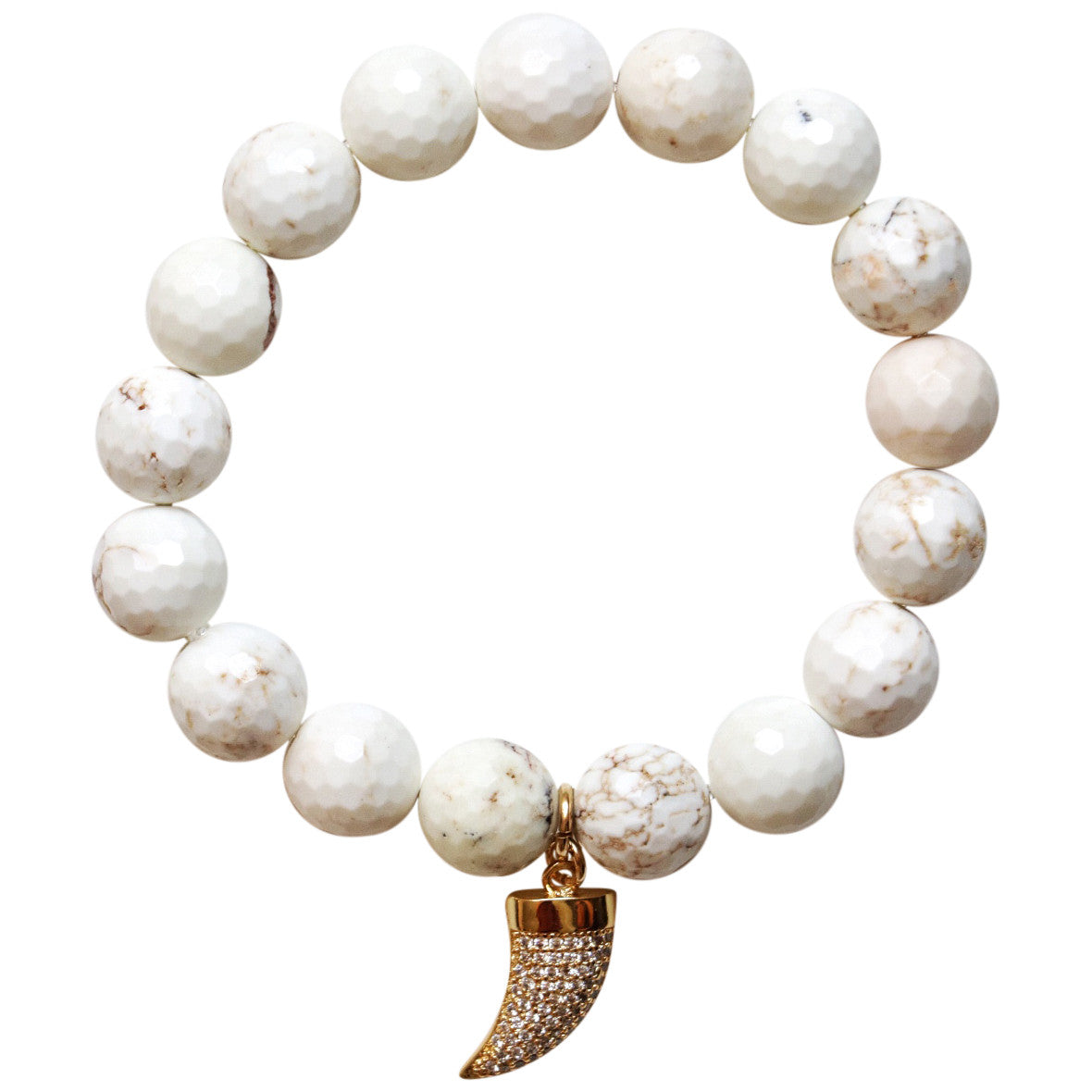 Molly Jane Designs Speckled White Quartz Charm Bracelet
