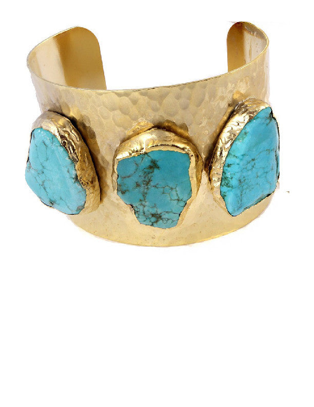Molly Jane Designs gold turquoise cuff bracelet