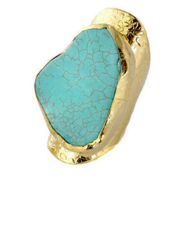 Turquoise Stone 24K Gold Cocktail Ring