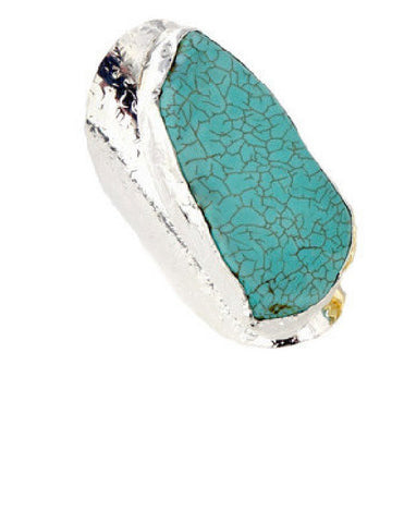 Turquoise Stone Sterling Silver Cigar Ring