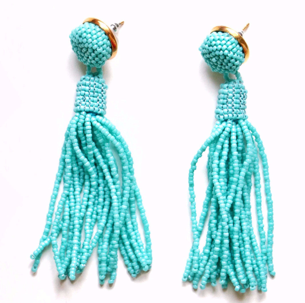 southern designer, Turquoise Tassel Earrings, Tassel Earrings, Molly Jane Designs, Spring earrings, Earrings to wear to prom, jewelry for mothers day, mothers day gift, turquoise jewelry,