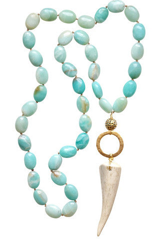 Amazonite + Antler Tip Necklace
