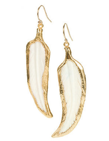 White Horn Feather Earrings