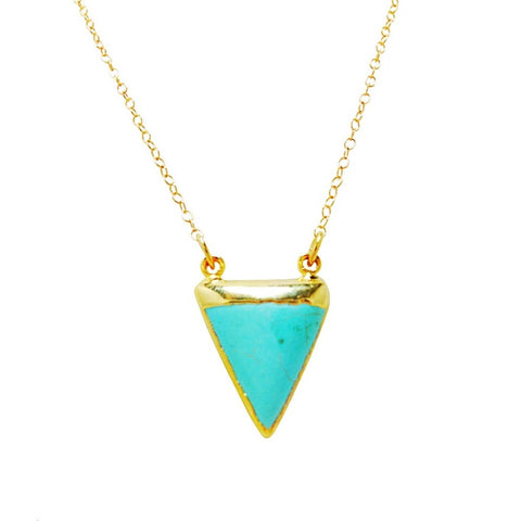 Triangular Cut Turquoise Stone necklace Dipped in 24k Gold on 14k Gold filled delicate chain