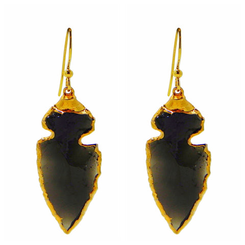 Black Onyx Wrapped Gold Hoop Earrings