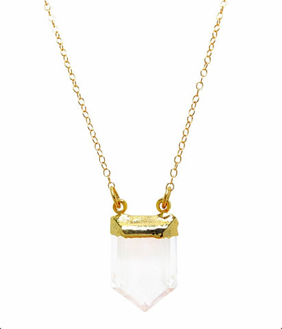 Crystal Quartz Pendant necklace in 24k Gold on 14k Gold Filled Chain