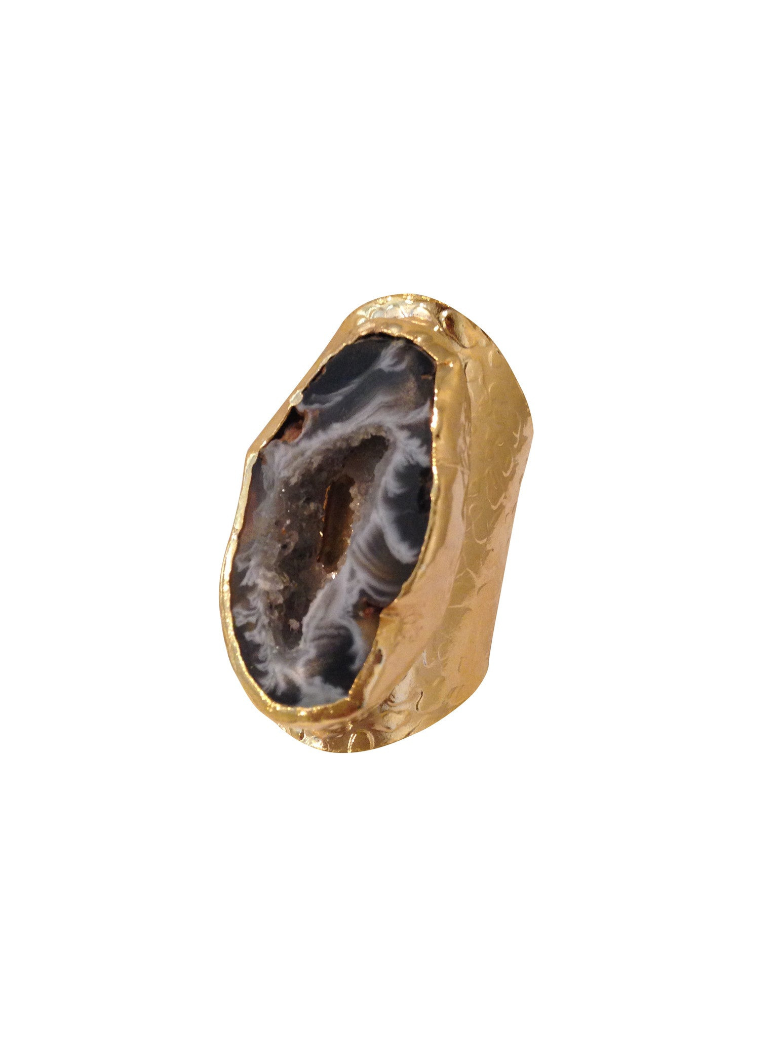 Agate Slice 24k Gold Ring