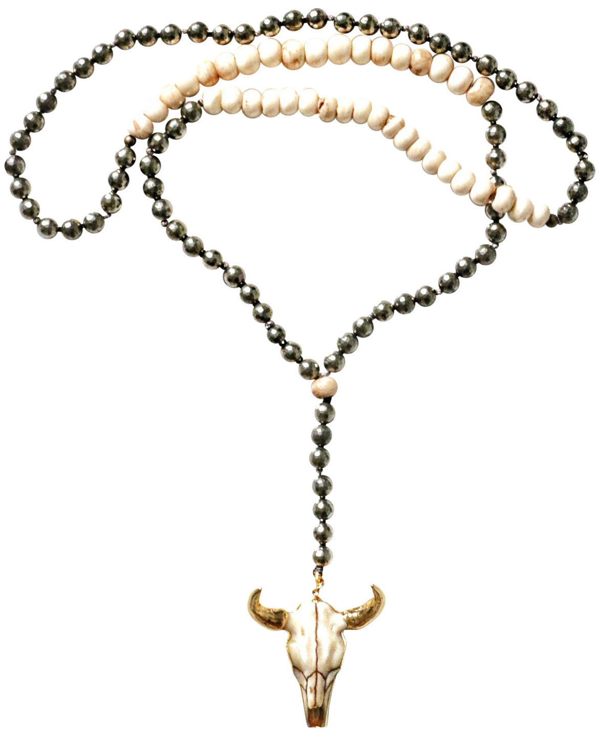 Pyrite & Bone + Steerhead Necklace
