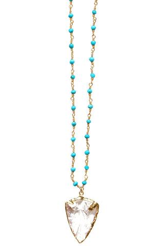 24k Gold dipped Crystal Arrowhead on a 14k Gold Filled Wire-wrapped Turquoise Chain