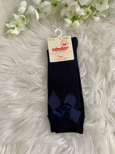 Cóndor Satin Navy Bow socks
